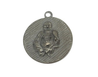 Round Buddah Pendant -- Oxidized Sterling Silver Hammered Pendant (S98B7-21)