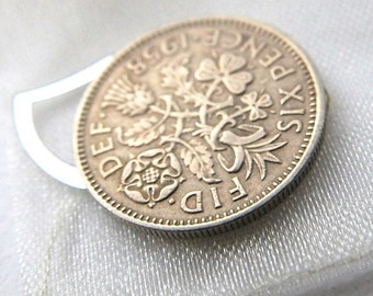 Wedding sixpence lucky charm something blue bridal gift