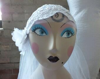 Bridal Cap Juliette Wedding Veil Headpiece Great Gatsby Flapper Bridal Fascinator