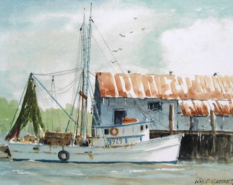 """Larger Print - Shrimp Boat Amelia Island - signed limited edition watercolor print 9 1/2"""" x 14"""" image"""