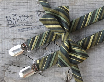 Ready-to-Ship ---- SIZE MEDIUM Green with Metallic Gold diagonal stripe bow tie & suspender set for little boys - ring bearer, wedding