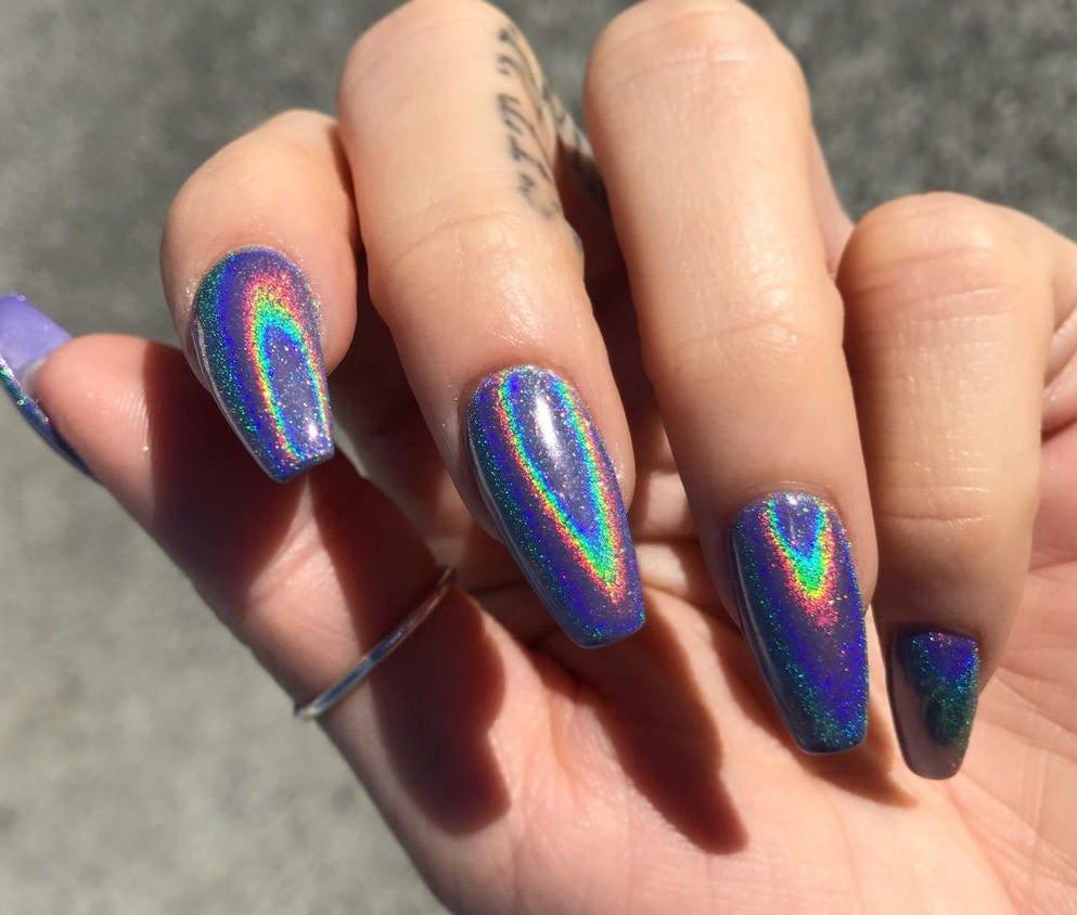 Holographic Unicorn Fake Nails CUSTOMIZABLE SHAPE & SIZE