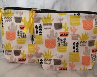 Cactus bag, zipper pouch, organiser, cotton lined, multiple uses.