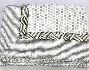 Vintage Kantha Hand Stitched Quilt, 100% Indian Cotton, Bohemian Boho Block Printed Black White Coverlet TWIN Size, Bed Spared  IKQ#502