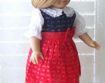 Handmade Doll Clothes, Red and Blue Christmas Doll Dress, Fits 18 inch doll, Handmade fabric doll dress