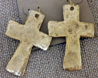Large gold hammered cross earrings