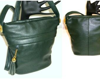 Vintage Small Green Leather Crossbody Purse  Tassel Fringe Pebbled Leather  Bucket  Bag