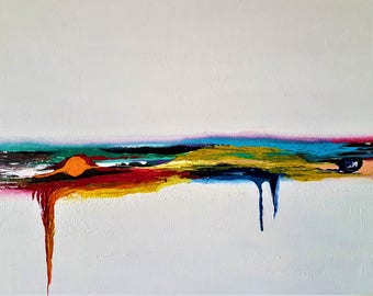 The Horizon, Original, Contemporary Abstract Hand-made Acrylic Painting on Canvas- Multicolors