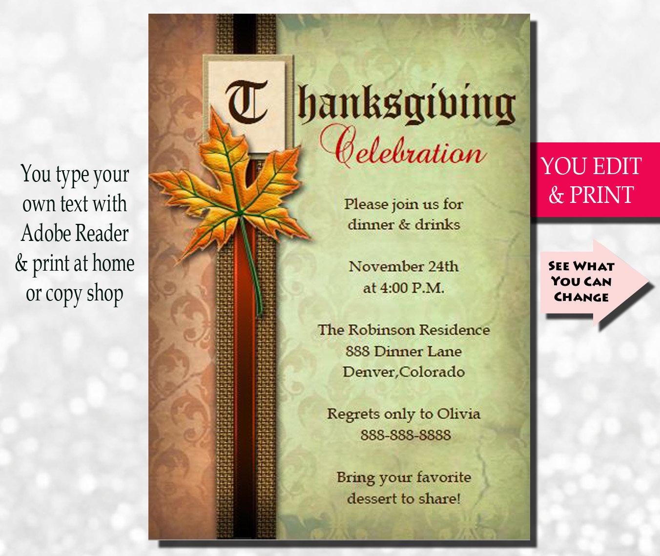 elegant thanksgiving invitation thanksgiving dinner