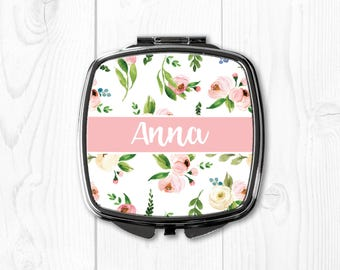 Personalized Maid of Honor Gift Compact Mirror for Purse Mirror Personalized Bridesmaid Gift Wedding Gifts for Bridesmaids Pink Floral