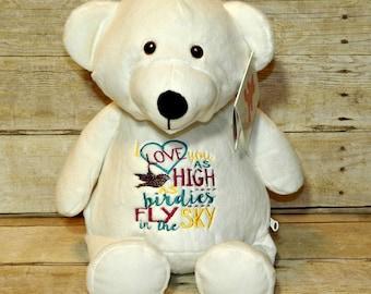 SALE-Teddy bear, Valentine's present, embroidered stuffed animal, personalized keepsake