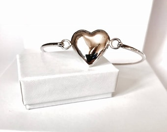 Sterling Silver Puffed Heart Bangle 2mm