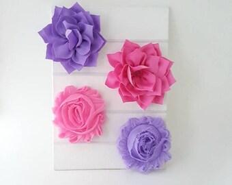 Pink and Purple Newborn Headband Set - Baby Headband Set - Baby Girl Headband - Toddler Headbands - Hot Pink Headband - Purple Headband