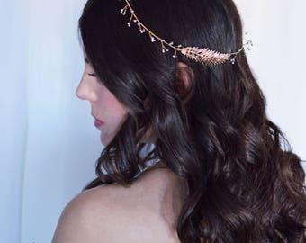 Vine Crown, Bridal Headband, Hair Vine, Feather Crown