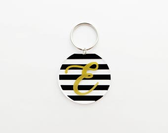Personalized Acrylic Initial Key Chain with Stripes - Choose Your Color and Initial