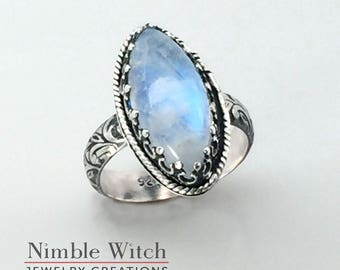 Blue moonstone ring, sterling silver ring, vintage style, boho look, marquise cut rainbow moonstone, handmade artisan ring, free shipping.