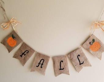 Fall Burlap Banner, fall decor, Rustic, Thanksgiving