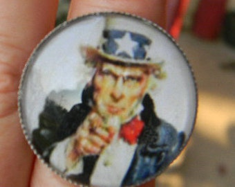 Famous Vintage Painting George Washington WW II Uncle Sam Glass Adjustable Cabochon Ring