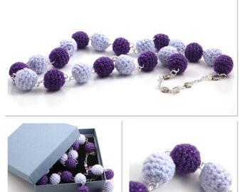 Purple & Lilac Handmade Crochet Beaded Necklace
