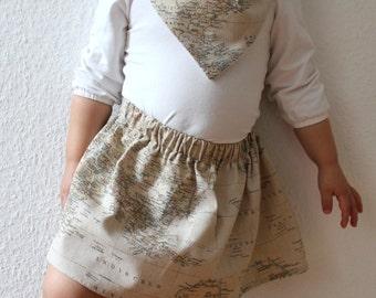Kinder/ Mädchen/ Baby Rock // World Traveller - Weltkarte, Rock, Reisen, Kinderbekleidung