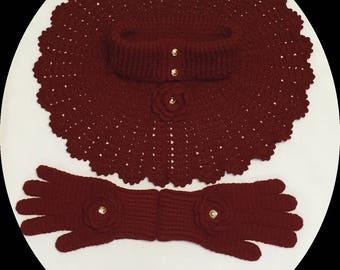 Burgundy Crocheted Poncho & Glove Sets