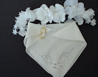 French vintage stunning fine linen hand embroidered and crochet wedding handkerchief  (00867)