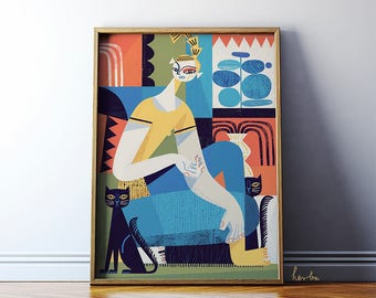 Art print: Lady with cats. Fine art giclee print on archival paper. Illustration. 50x70 Poster. Retro. Abstract.