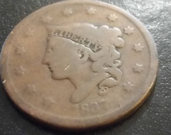 1837 Coronet large cent, VG details old US coin M181