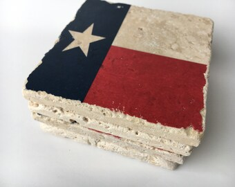 Texas State Flag Coasters Natural Stone Coasters Set of 4 with Full Cork Bottom Texas Coasters Texas Flag