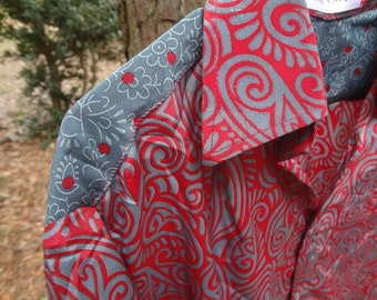 Men's Handmade Polyester Button Down Dress Shirt - Father Child Coordinating Outfits - Slate and Barn Red - Eben G704