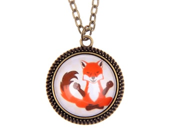 Red orange fox Necklace or bracelet Jewelry Animal cute Kawaii Illustration necklace  2525C