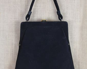 VINTAGE 1940's Trapezoid Black Velour Evening Bag * Handbag