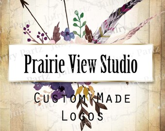 LOGO in Purple Posie PRAIRIE View•Premade Logo•Jewelry Card Logo•Flower Logo•Custom Logo•Shop Logo
