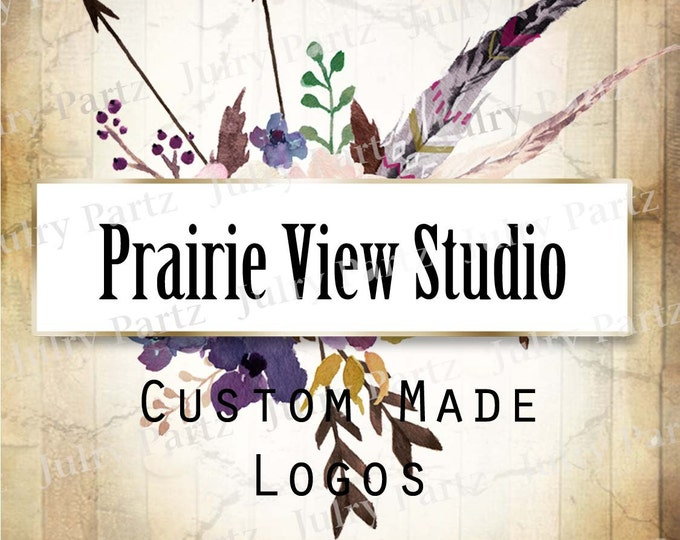 LOGO in Purple Posie PRAIRIE View•Premade Logo•Jewelry Card Logo•Flower Logo•Custom Logo•Shop Logo