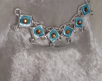 Handpainted large turquoise Topaz connector in silver