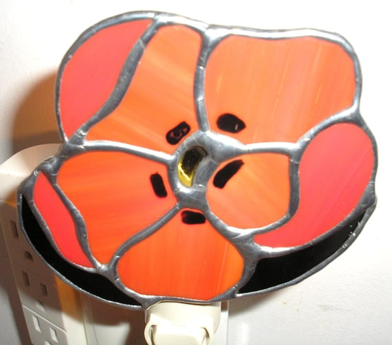 Red Poppy Stained Glass Night Light by Lyn Tignor