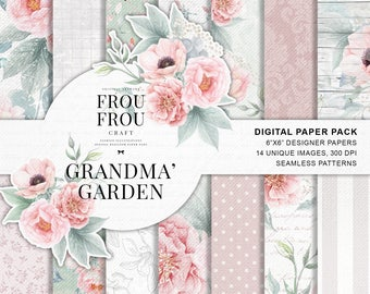 Pastel Paper Pack, Blush Pink Rose Gold Teal Sage Romantic Planner Stickers, Floral Fabric, Roses Peonies Digital Designer Paper Pad