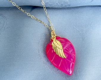 Gold Pink Chalcedony Necklace, Gold Angel Wing Charm, Minimalist Jewelry, Yoga Necklace, Gemstone Necklace, Charm Necklace