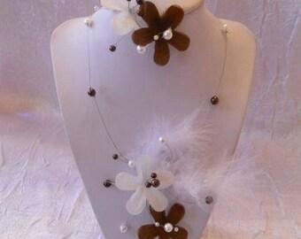 Wedding white and chocolate Flower Adornment