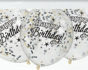 "Confetti Balloons, Black Happy Birthday, Pack of 6, 12"" balloons, Mixed confetti, Confetti, Birthday Balloons, Birthday Decor, Happy 30th"