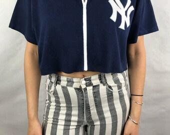 Vintage New York Yankees Cropped Zip Up Tee (L)