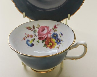 Vintage Blue Gilt China  - Cup Saucer, Floral China, Decorative China, Royal Grafton China,