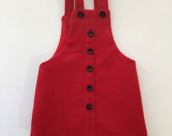 "14.5"" Doll Clothes - Red Corduroy Jumper - To fit Wellie Wishers"