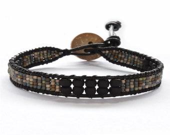 Metallic Seed Bead Leather Wrap Bracelet