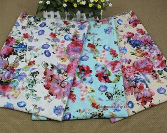 Soft Shabby Chic Flower Linen Fabric, Pink Watercolour Floral FabricI In Blue Cream White- 1/2 Yard