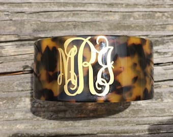 Tortoise Shell Cuff Bracelet with Monogram