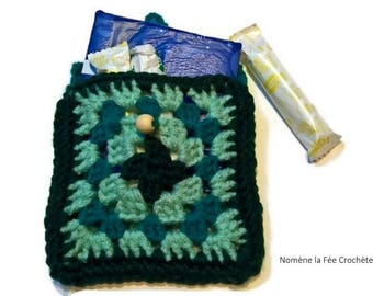 Small intimate green carrying pouch, storage for towels and tampons, handmade crochet