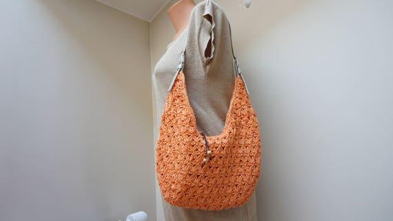 Orange häkeln Bast Handtasche Kupplung Tasche Hobo Retro