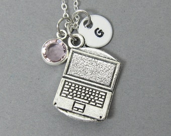 Laptop Computer Necklace - Handstamped Initial, Personalized Name, Customized Swarovski crystal birthstone