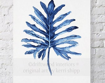 Tropical Leaf II Watercolor Print in Denim Blue 11x14 - Watercolor Art Print - Tropical Wall Art